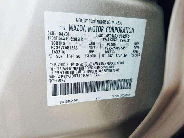 2001 Mazda Tribute ES-V6 4WD 4dr SUV
