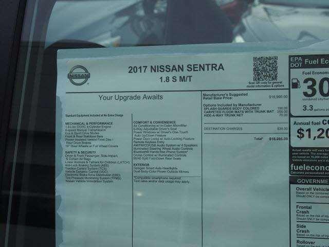 2017 Nissan Sentra S 4dr Sedan 6M